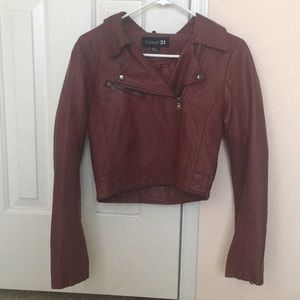 Forever 21 red faux leather jacket fall warm